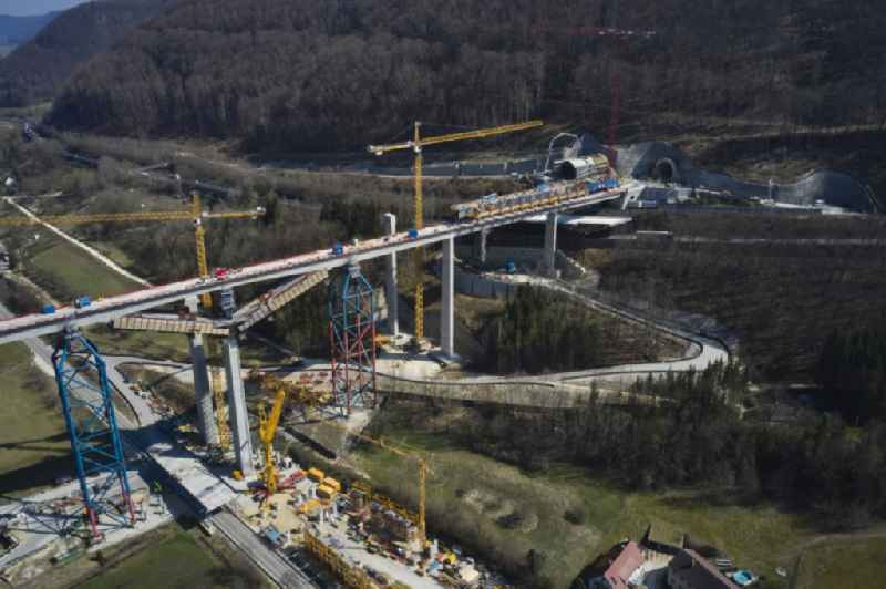 New construction site viaduct of the railway bridge construction Filstalbruecke in Muehlhausen im Taele in the state Baden-Wuerttemberg, Germany