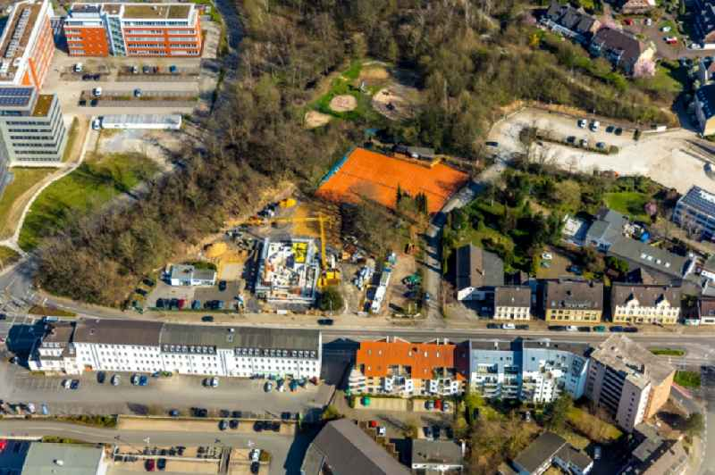 Construction site to build a new office and commercial building on Duesseldorfer Strasse in Muelheim on the Ruhr in the state North Rhine-Westphalia, Germany