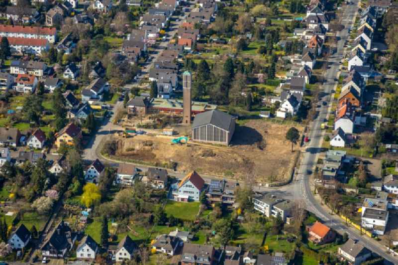 Construction sites for new construction residential area of detached housing estate around the listed building of the 'Christuskirche' on Waldbleeke in the district Saarn in Muelheim on the Ruhr in the state North Rhine-Westphalia, Germany