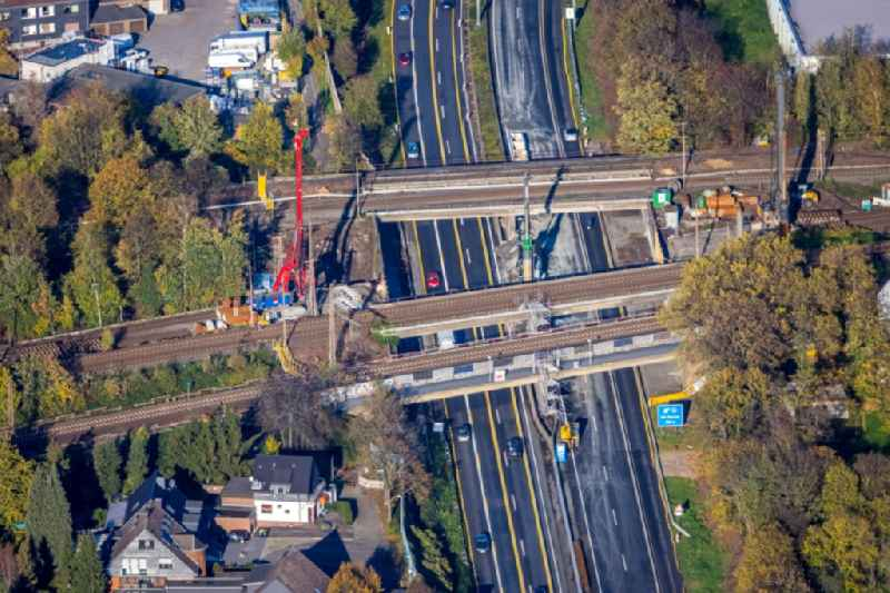 New construction of the railway bridge over the motorway BAB A40 in Muelheim on the Ruhr in the state North Rhine-Westphalia, Germany