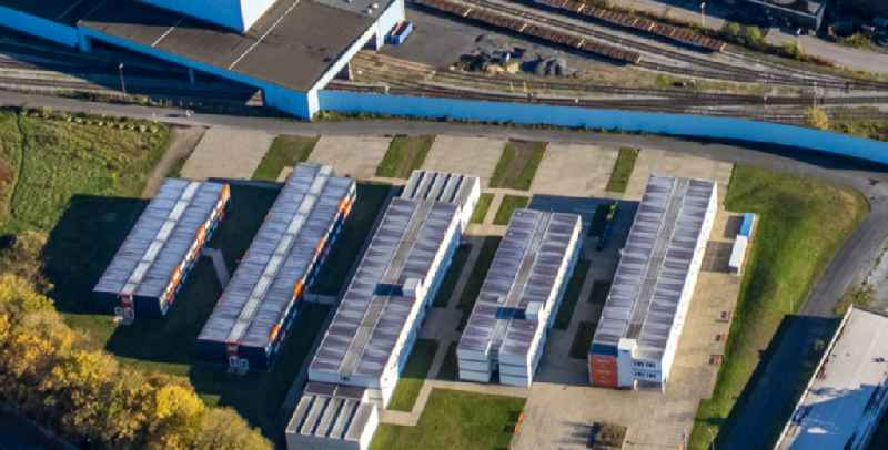 Container buildings of the University of Applied Sciences for police and public administration Nordrhein-Westfalen between Duemptener Strasse and Industriestrasse in Muelheim on the Ruhr in the state North Rhine-Westphalia, Germany