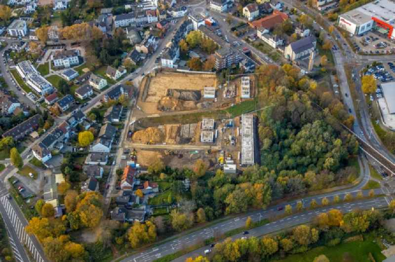 Construction site of a new residential area of the terraced housing estate on Rudolf-Harbig-Strasse in Muelheim on the Ruhr in the state North Rhine-Westphalia, Germany