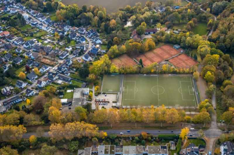 Ensemble of sports grounds on Horbeckstrasse in the district Flughafensiedlung in Muelheim on the Ruhr in the state North Rhine-Westphalia, Germany