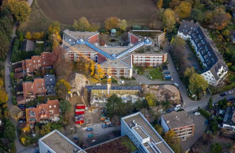 Construction site for the multi-family residential building on Parsevalstrasse in the district Flughafensiedlung in Muelheim on the Ruhr in the state North Rhine-Westphalia, Germany