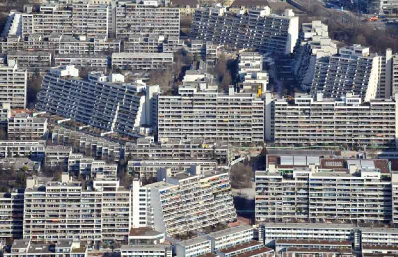 Plattenbau- high-rise housing development at the former Olympic Village in Munich in the state of Bavaria, Germany.