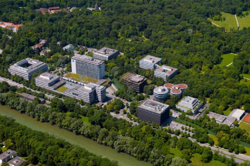 Complex of the hotel building Hilton Munich Park and office buildings on Tucherpark and the riverbank of the Isar in Munich in the state of Bavaria
