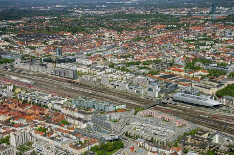 City view with a view of the route of the Deutsche Bahn and the Arnulfpark in the district Maxvorstadt in Munich in the state Bavaria, Germany