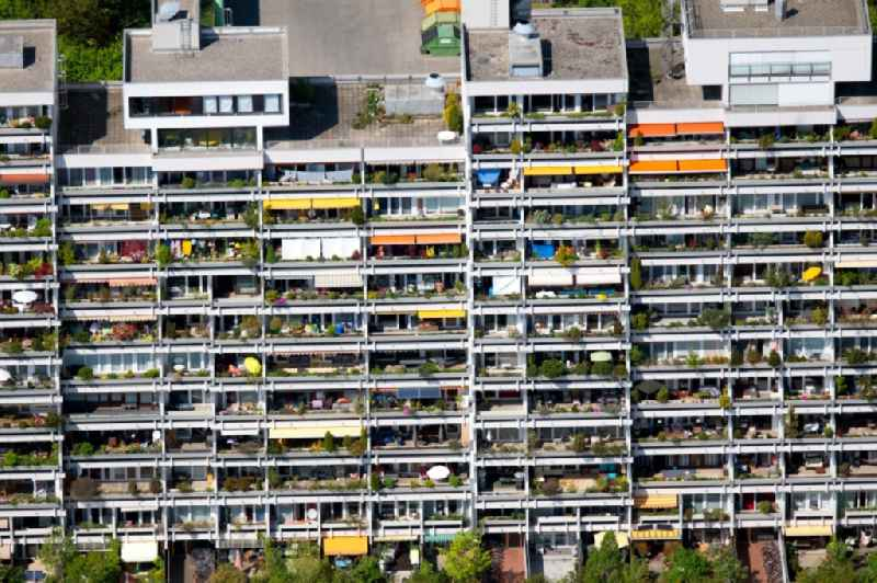 Plattenbau- high-rise housing development at the former Olympic Village in Munich in the state of Bavaria, Germany