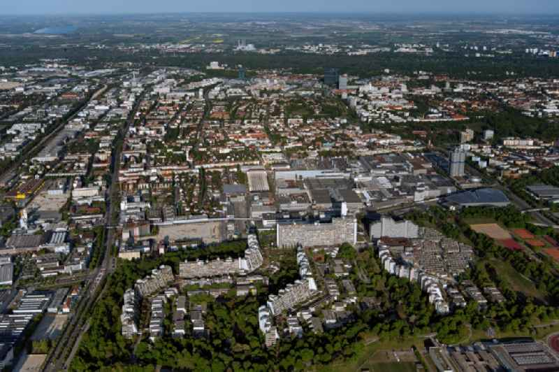 Residential area of a??a??an industrially manufactured prefabricated housing estate former Olympic village in the district Milbertshofen-Am Hart in Munich in the state Bavaria, Germany