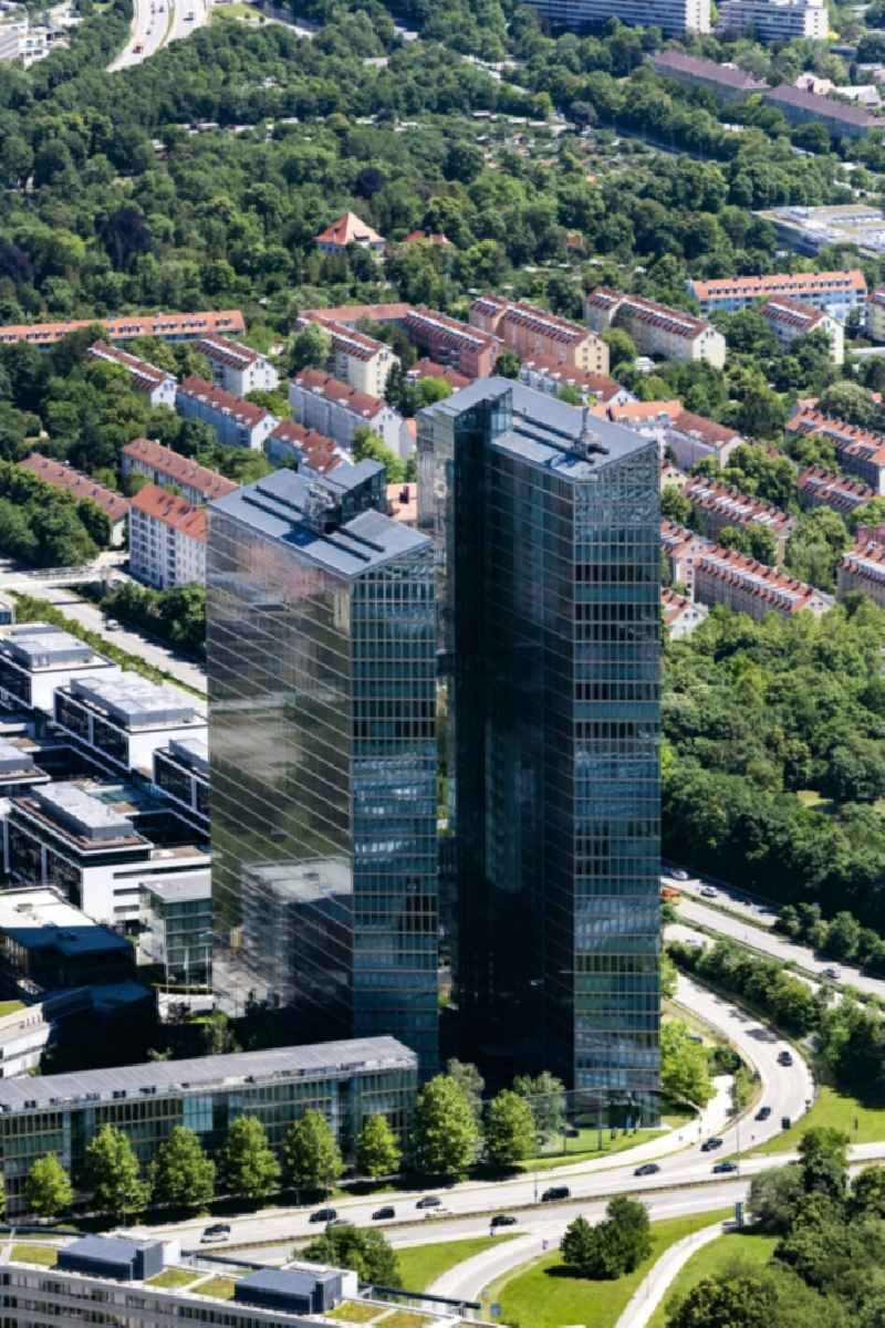 High-rise building complex ' HighLight Towers ' on corner Mies-van-der-Rohe- und Walter-Gropius-Strasse in the district Schwabing-Freimann in Munich in the state Bavaria, Germany