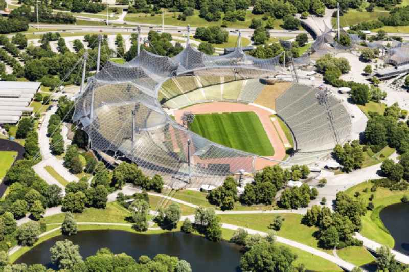 Sports facility grounds of the Olypmic stadium in Munich in the state Bavaria, Germany