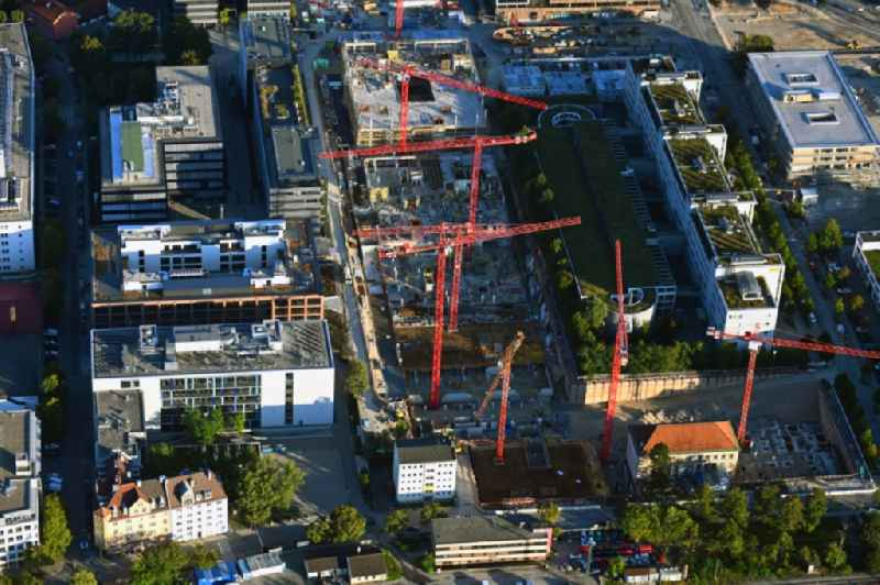 Construction site for the new building of an Office building - Ensemble of 'iCampus Rhenania' on Friedenstrasse corner Muehldorfstrasse in the district Berg am Laim in Munich in the state Bavaria, Germany