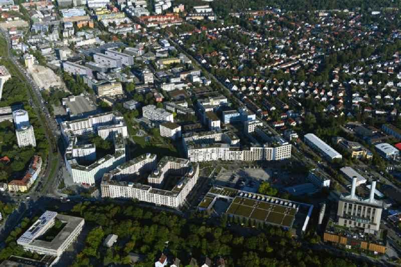 Mixing of residential and commercial settlements Constanze-Hallgarten-Strasse - Boschetsrieder Str. in the district Obersendling in Munich in the state Bavaria, Germany