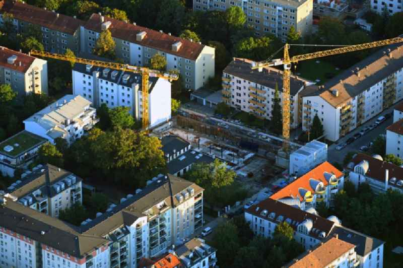 Construction site for the multi-family residential building Schaeufeleinstrasse - Mitterhoferstrasse in the district Laim in Munich in the state Bavaria, Germany