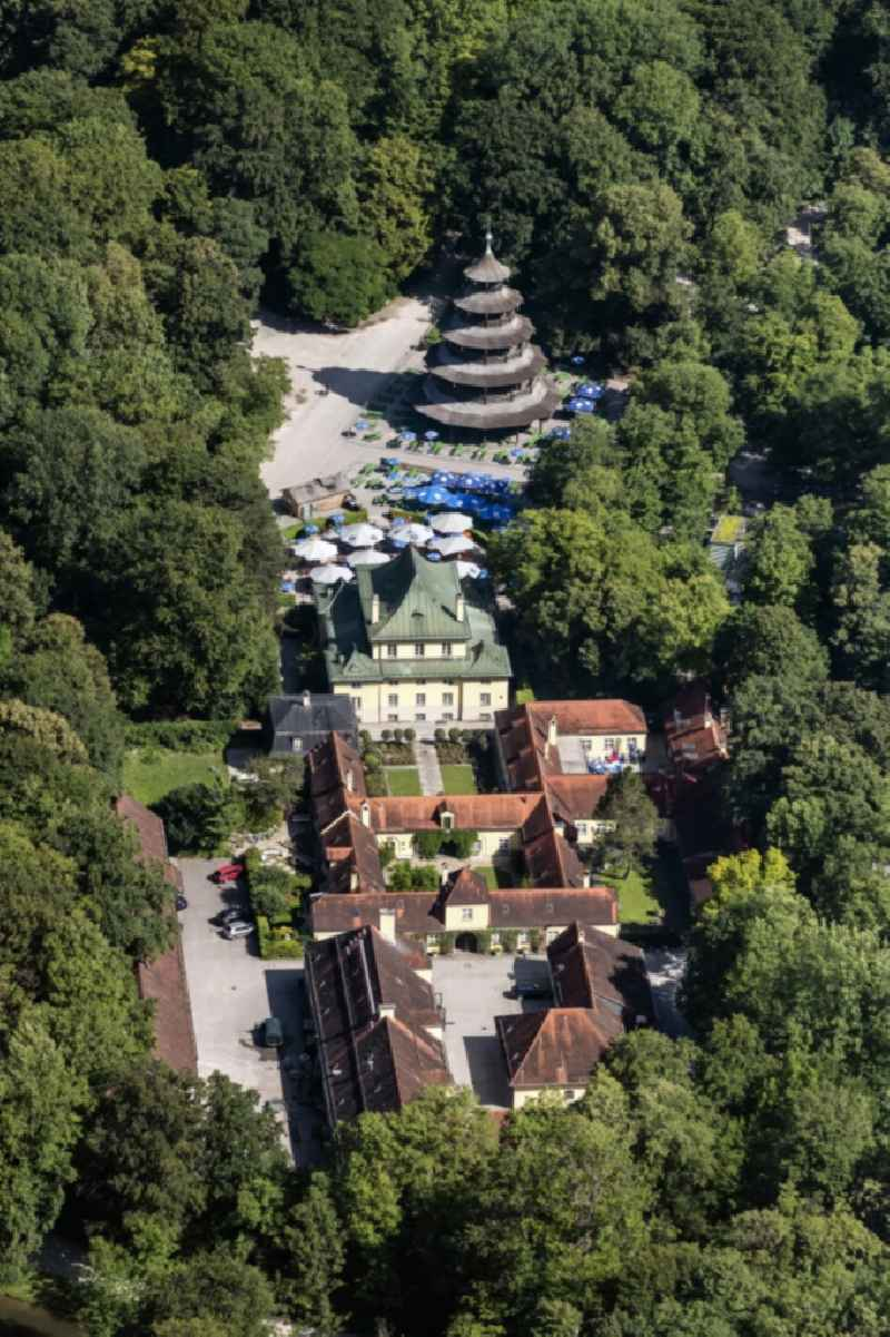 Building of the restaurant with 'Chinesischer Turm' in english garden in Munich in the state Bavaria, Germany