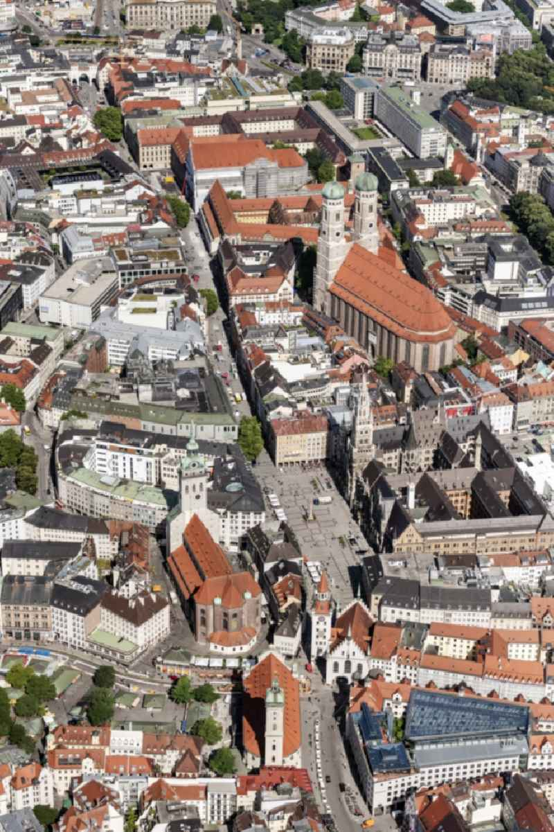 Old Town area and city center with dem Marienplatz and Viktualienmarkt in Munich in the state Bavaria, Germany