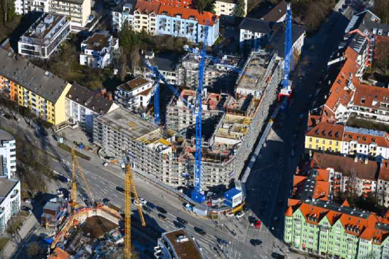Construction site for the new residential and commercial Corner house - building ' PLAZA Pasing ' on Oberseestrasse corner Bodenseestrasse in the district Pasing-Obermenzing in Munich in the state Bavaria, Germany