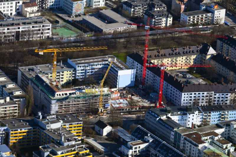 Construction site for the new residential and commercial building ' eins8eins ' on Hansastrasse in the district Sendling-Westpark in Munich in the state Bavaria, Germany