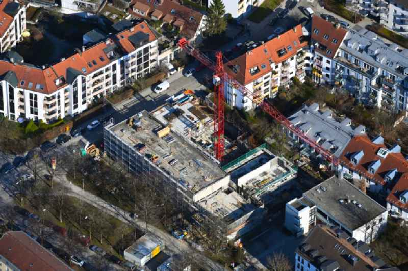 Construction site for the multi-family residential building Zillertalstrasse corner Ortlerstrasse in the district Sendling-Westpark in Munich in the state Bavaria, Germany