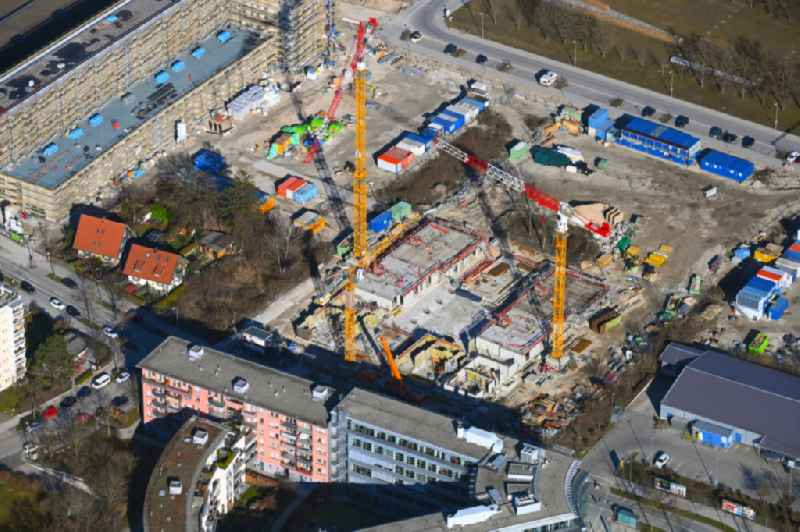 Construction site for the multi-family residential building Hanauer Strasse - Richthofenstrasse in the district Moosach in Munich in the state Bavaria, Germany