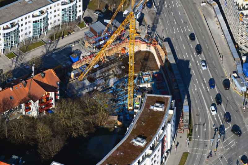 Construction site for the multi-family residential building Scapinellistrasse corner Lortinger Strasse in the district Pasing-Obermenzing in Munich in the state Bavaria, Germany