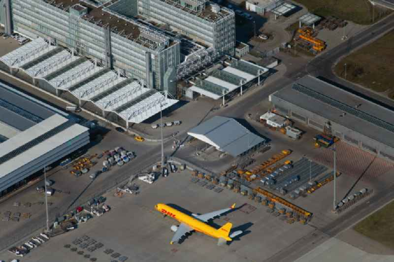 Parking spaces, apron and logistics areas at the handling buildings and freight terminals on the grounds of the airport in Munich-airport in the state Bavaria, Germany
