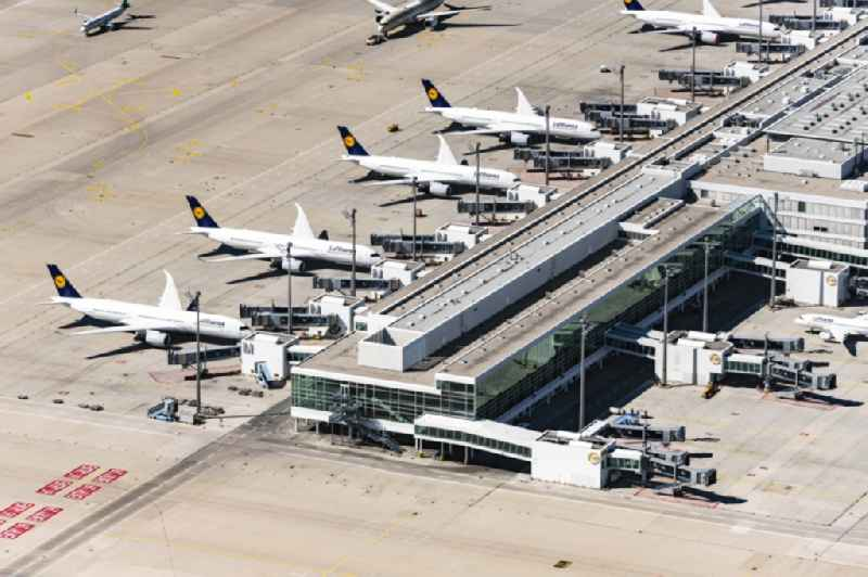 Dispatch building and terminals on the premises of the airport in Muenchen-Flughafen in the state Bavaria, Germany