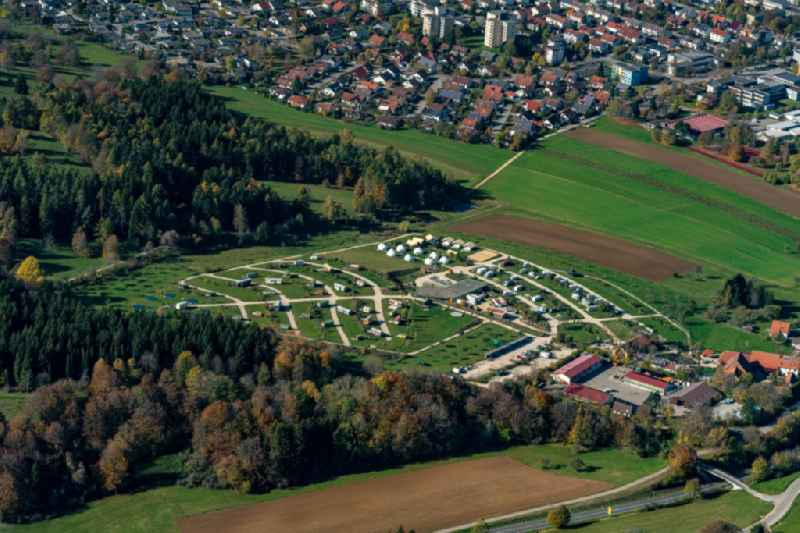 Camping with caravans and tents in Muensingen in the state Baden-Wurttemberg, Germany.