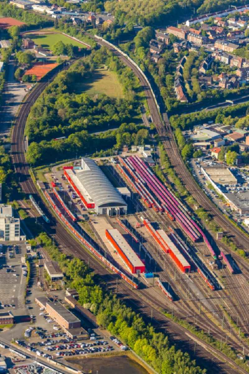 Railway depot and repair shop for maintenance and repair of trains of passenger transport in Muenster in the state North Rhine-Westphalia, Germany
