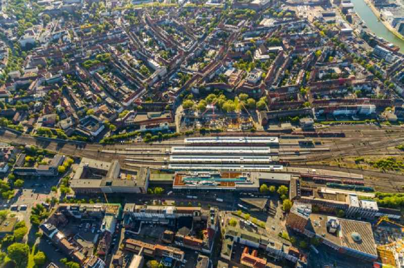 Track progress and building of the main station of the railway in Muenster in the state North Rhine-Westphalia, Germany