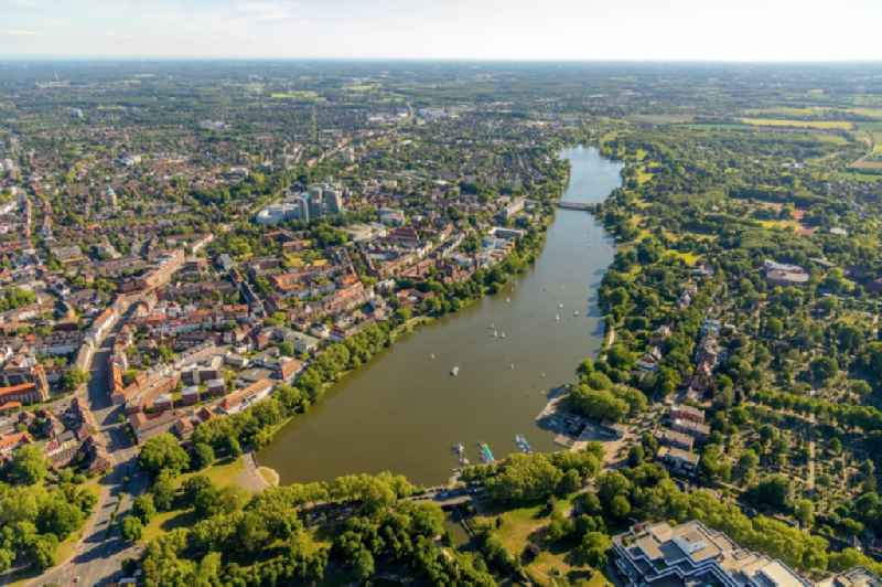 City view of the downtown area on the shore areas Aasee in the district Pluggendorf in Muenster in the state North Rhine-Westphalia, Germany