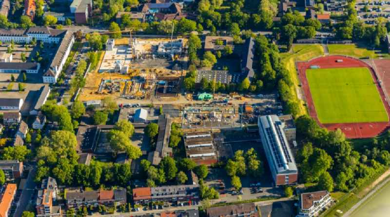 New construction site of the school building of the 'Mathilde-Anneke-Schule' on Andreas-Hofer-Strasse corner Manfred-von-Richthofen-Strasse in Muenster in the state North Rhine-Westphalia, Germany