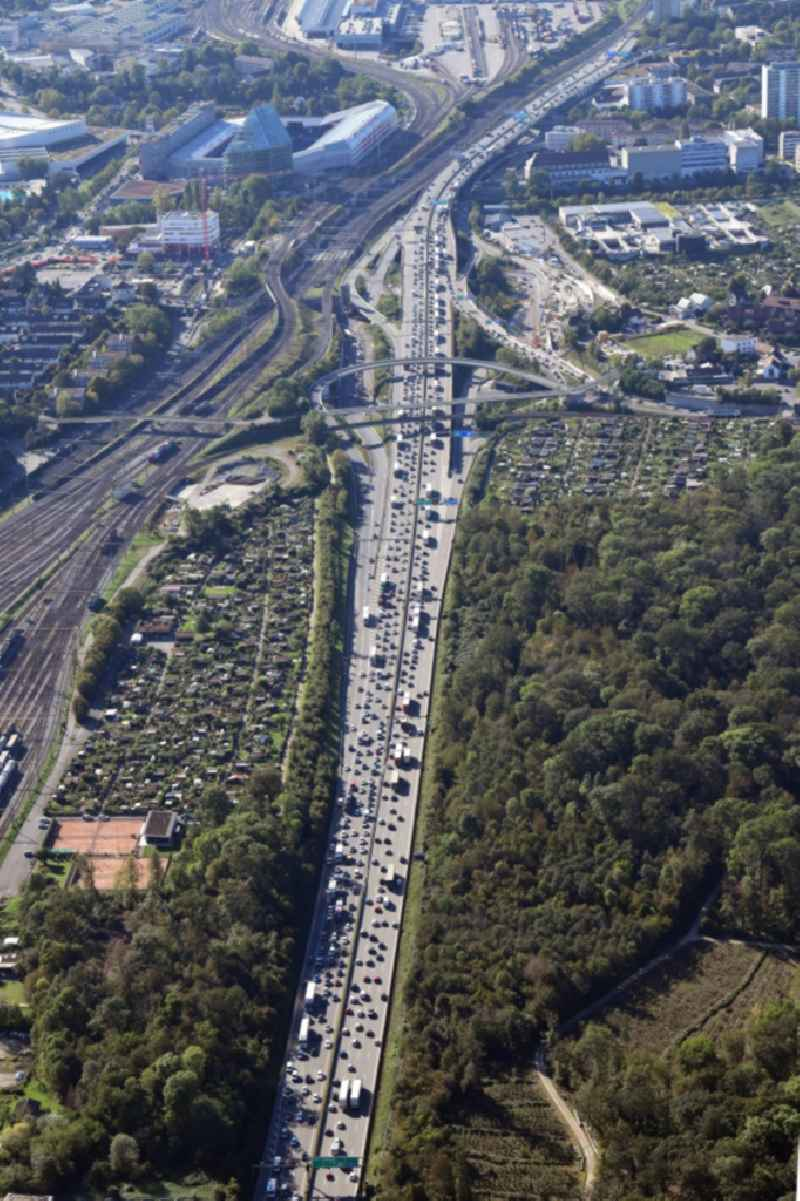 Highway congestion along the route of the lanes of the swiss motorway A2 / A3Autobahn in Muttenz in the canton Basel-Landschaft, Switzerland.