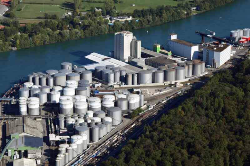 The tank farm in the Auhafen in Muttenz, Switzerland. The Rhine harbor is turnover for industry and petroleum products.