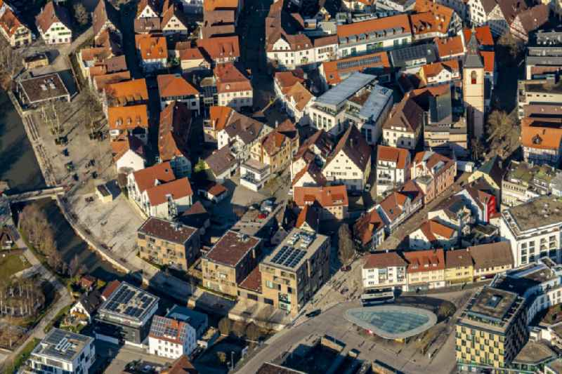 The city center in the downtown area in Nagold in the state Baden-Wurttemberg, Germany.