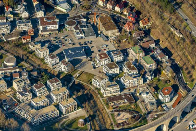 Residential area of a multi-family house settlement Schillerstrasse in Nagold in the state Baden-Wurttemberg, Germany.