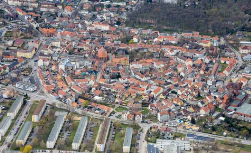 The city center in the downtown area in Nauen in the state Brandenburg, Germany