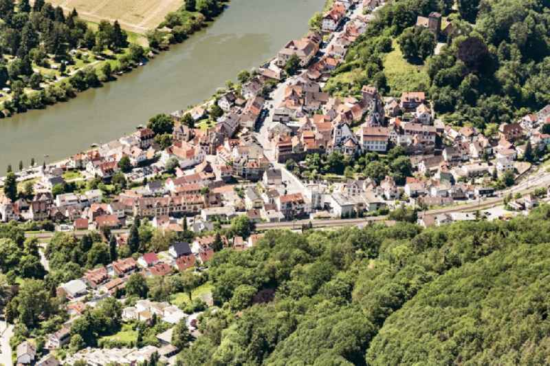 Village on the banks of the area Neckar - river course in Neckarsteinach in the state Hesse, Germany.