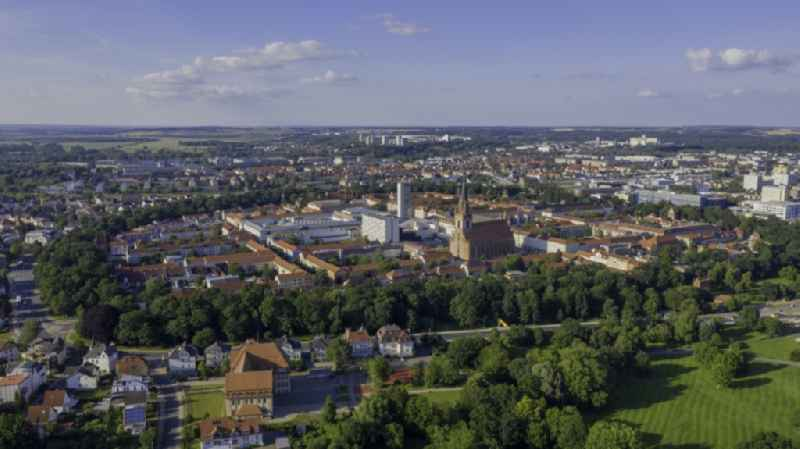 Old Town area and city center in Neubrandenburg in the state Mecklenburg - Western Pomerania, Germany