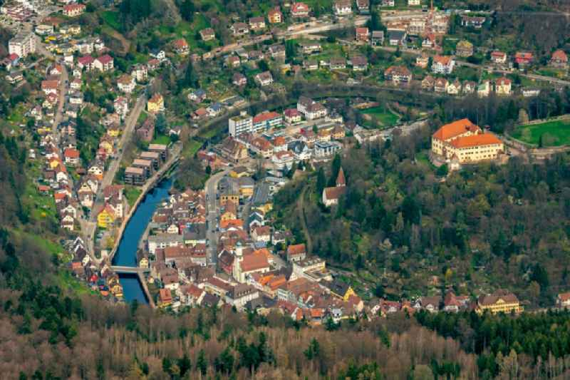 Curved loop of the riparian zones on the course of the river of Altstadt in Neuenbuerg in the state Baden-Wurttemberg, Germany