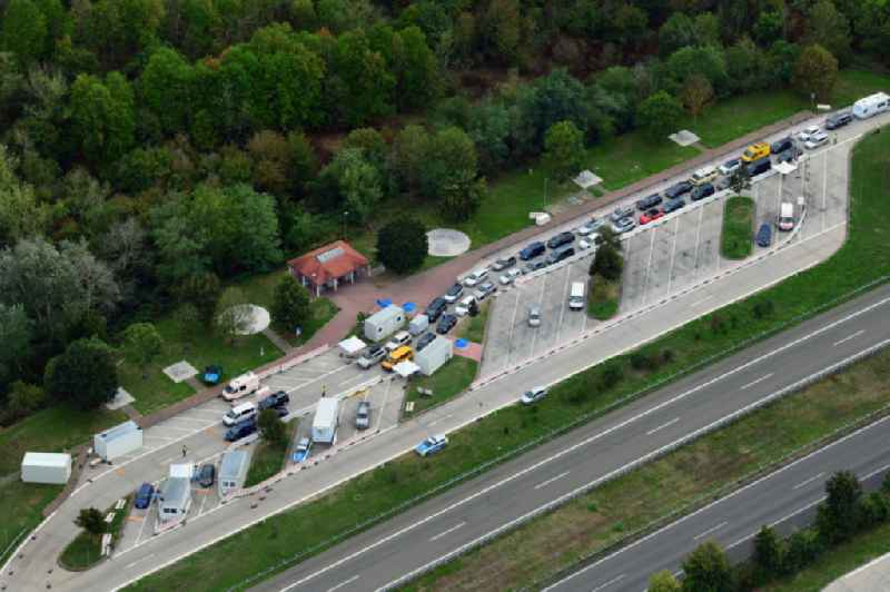 Motorway service area Neunbur East on the edge of the course of BAB highway A5 with Corona - Teststation for returning travellers in Neuenburg am Rhein in the state Baden-Wuerttemberg, Germany