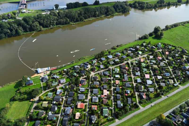 Village on the banks of the area lake of Oste-Altarm in Neuhaeuserdeich in the state Lower Saxony, Germany