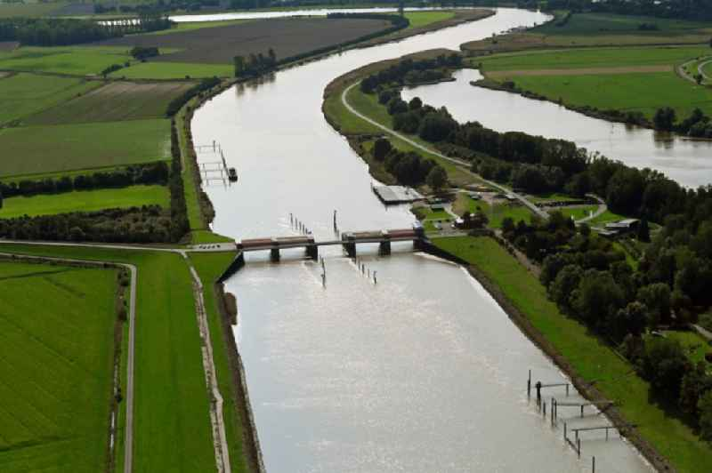 River - bridge construction ' Ostesperrwerk ' in Neuhaeuserdeich in the state Lower Saxony, Germany