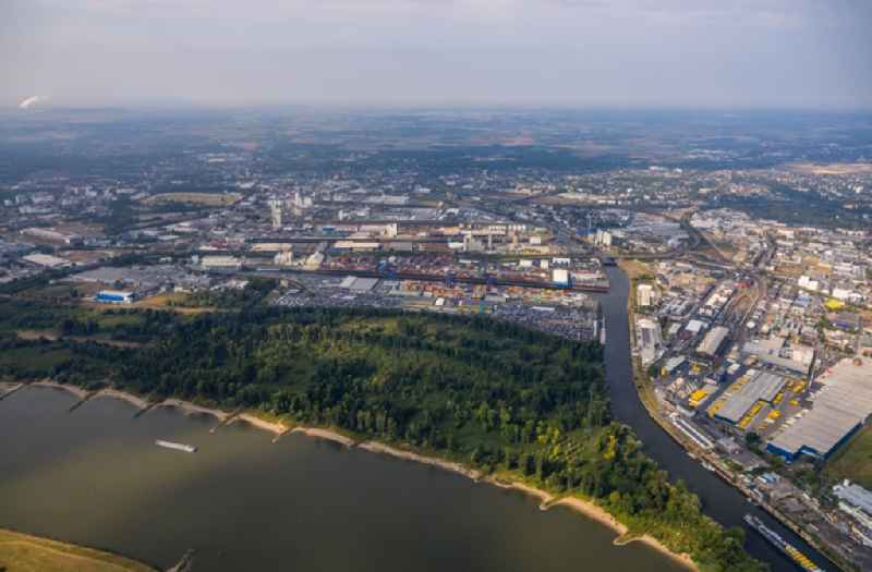 Container Terminal in the port of the inland port on the inflow Obererft in Neuss in the state North Rhine-Westphalia, Germany