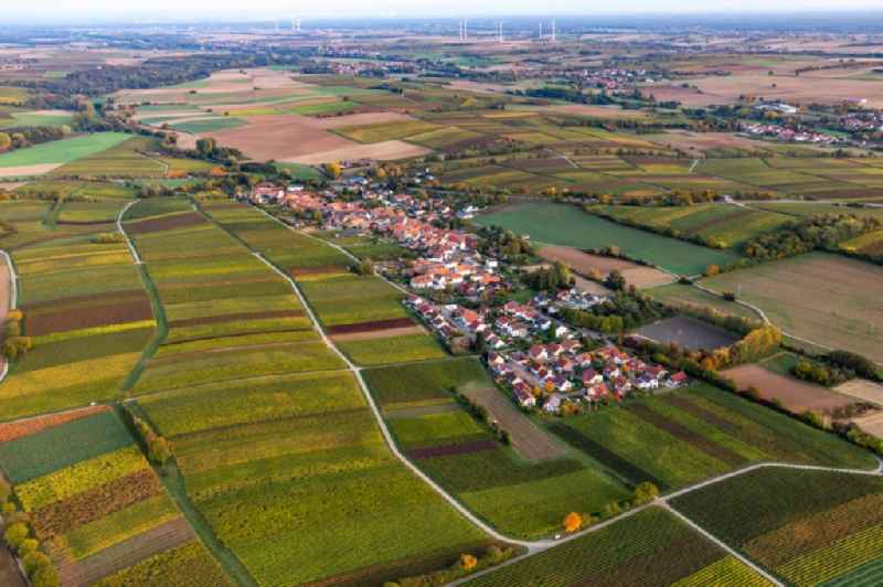 Village - view on the edge of agricultural fields and farmland in Niederhorbach in the state Rhineland-Palatinate, Germany