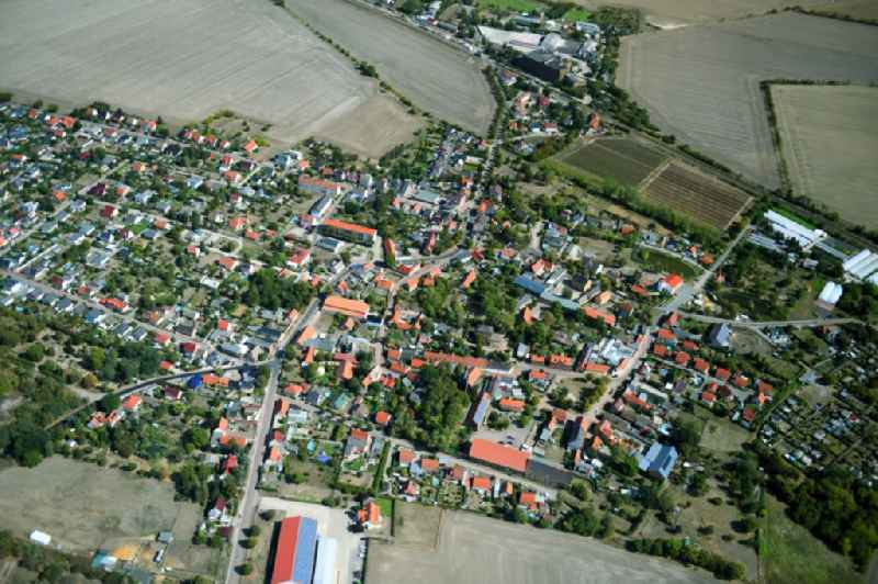 Town View of the streets and houses of the residential areas in Niemberg in the state Saxony-Anhalt, Germany