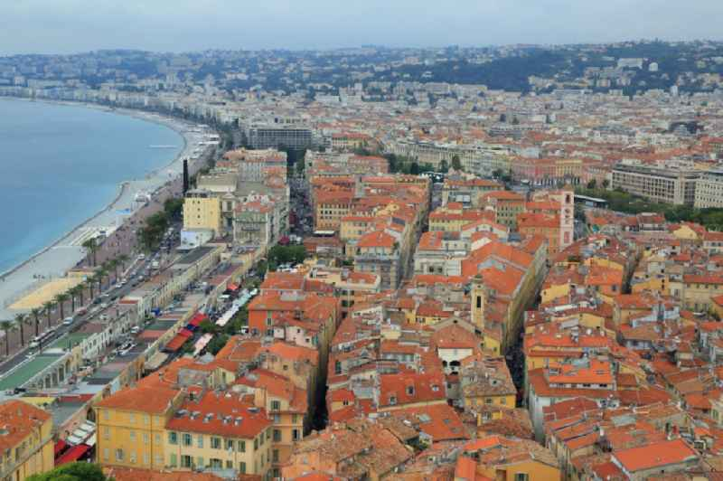 Old Town area in the district Vieux Nice and view to the Center of Nice with the Promenade des Anglais ( Walkway of the English ) in Provence-Alpes-Cote d'Azur, France.