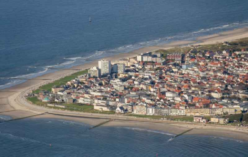Island area Norderney with the village center in Norderney in the state Lower Saxony, Germany