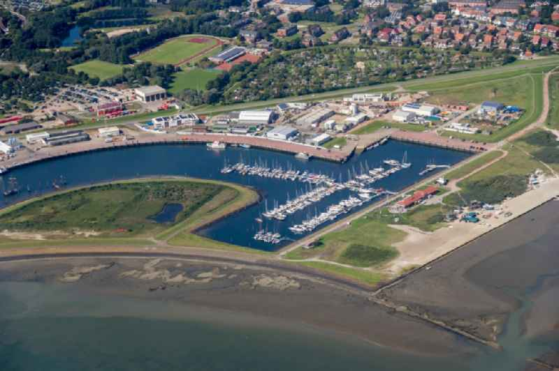 Pleasure boat marina with docks and moorings on the shore area in Norderney in the state Lower Saxony, Germany