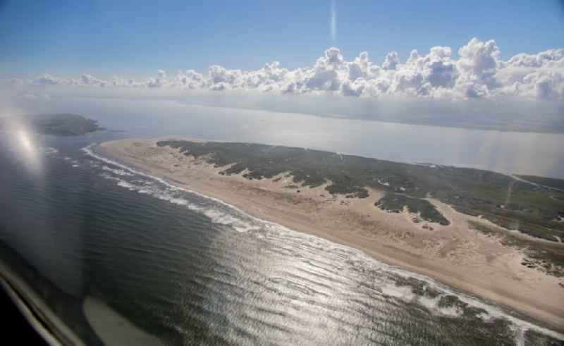 Coastline on the sandy beach of North Sea island in Norderney in the state Lower Saxony, Germany